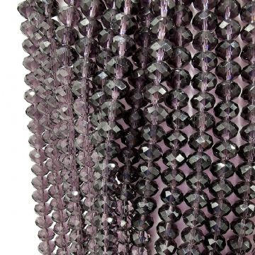 72 pcs x 8mm Faceted Glass Rondelle Dark Ashy Purple 006